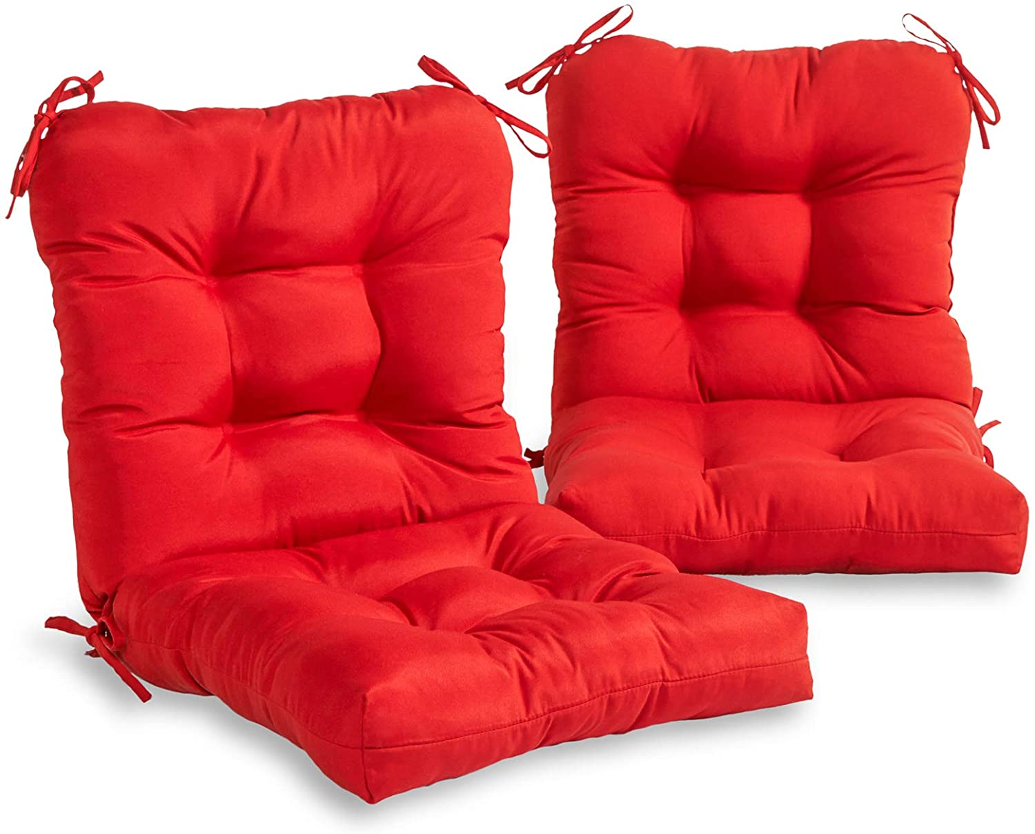 South Pine Porch AM6815S2-SALSA Solid Salsa Red Outdoor Seat/Back Chair Cushion, Set of 2