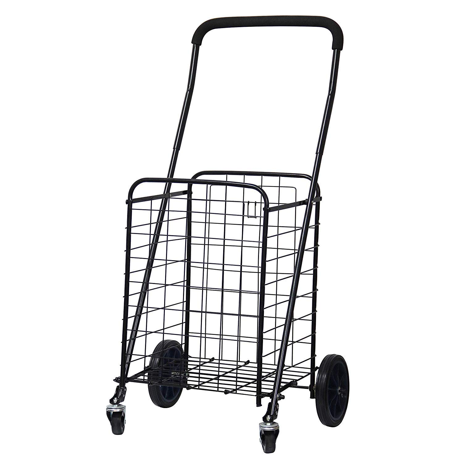 BLISSUN Utility Shopping Cart with Rolling Swivel Wheels (Black) by Blissun