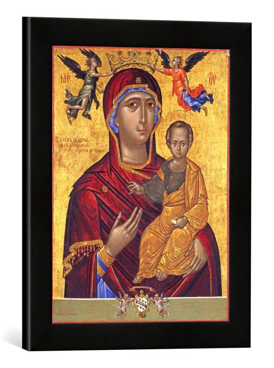 Gerahmtes Bild von Ikonenmalerei Maria mit Kind, Kunstdruck im hochwertigen handgefertigten Bilder-Rahmen, 30x40 cm, Schwarz matt