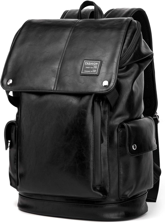 BISON DENIM Leather Backpack Mens College School Bookbag 14 Inch Laptop Computer Backpack for Travel