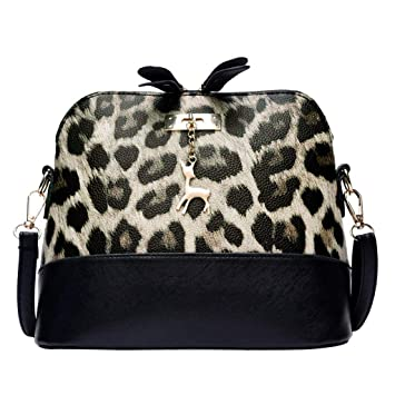 a02884d68693 Fashion Women Leopard Print Crossbody Bag Fawn Pendant Shell ...