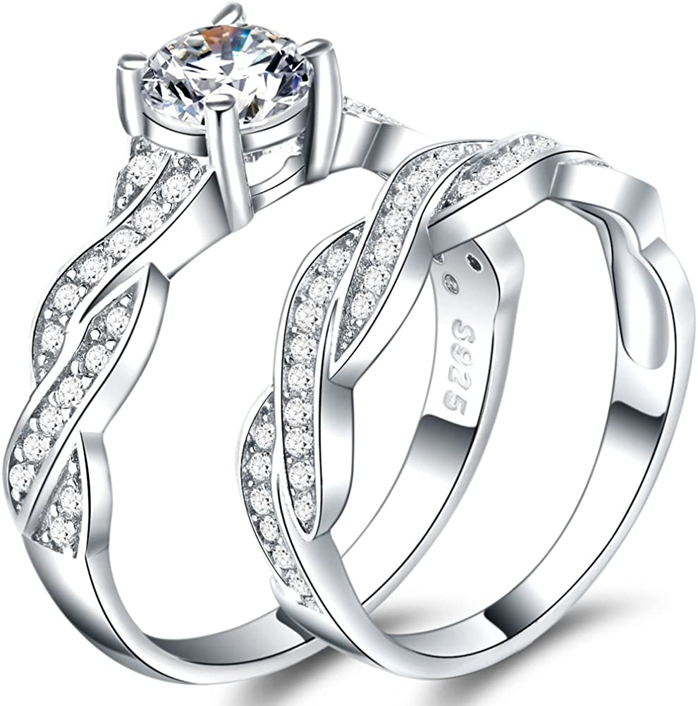 WFF Platinum Plated Silver Wedding Engagement Propose Anniversary Bridal Ring Set