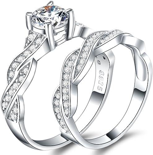 Amazon Com Wff Platinum Plated Silver Wedding Engagement Propose