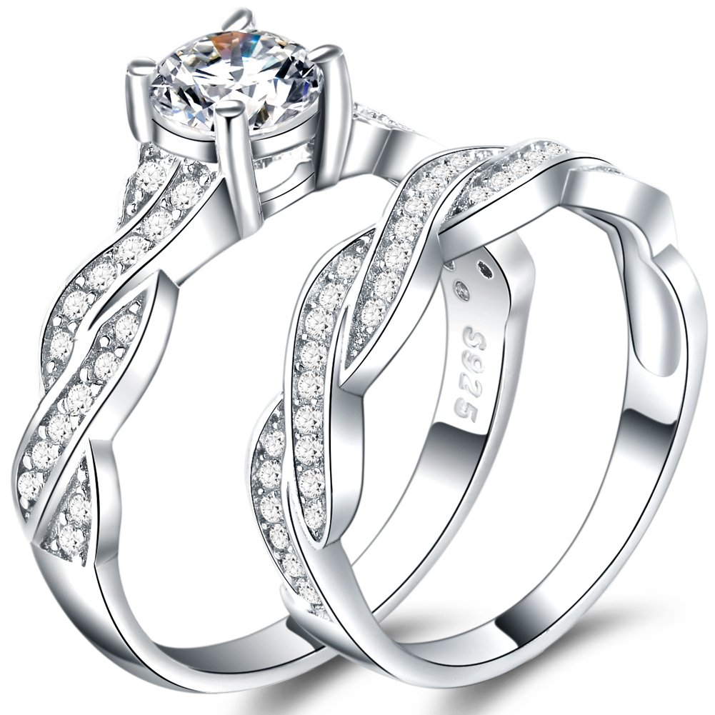 925 Sterling Silver Ring Set Wedding Engagement Propose Anniversary (5)