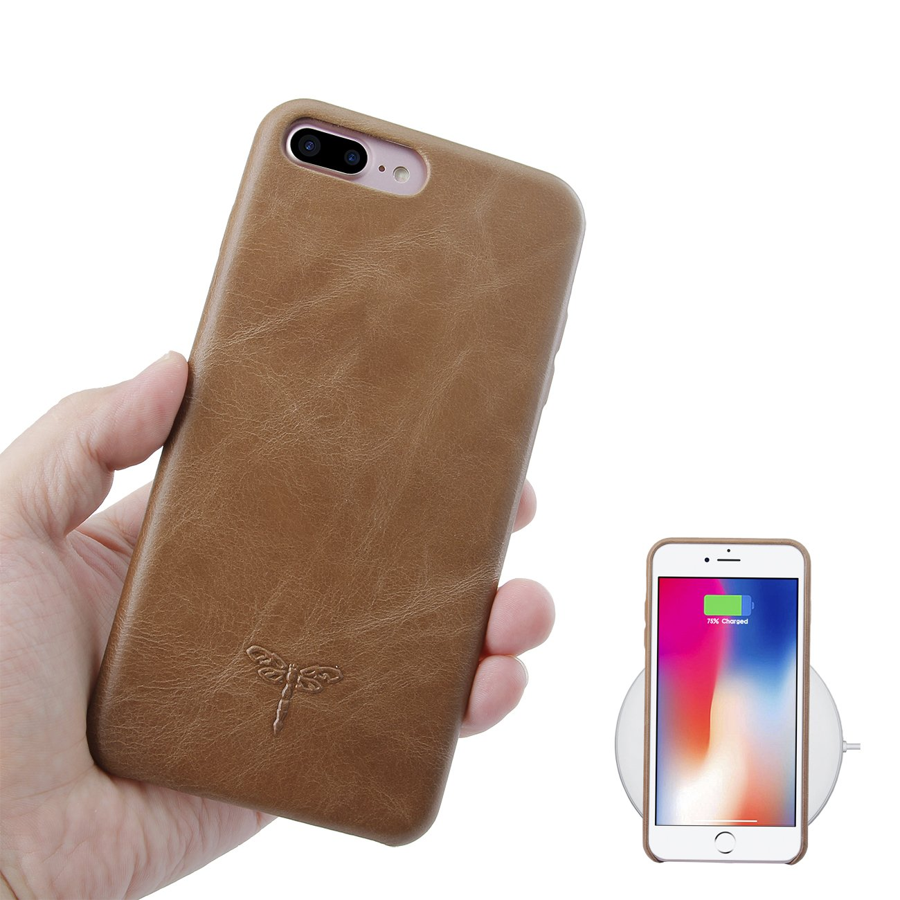 FRIFUN Compatible with iPhone 8 Plus Case iPhone 7 Plus Case, Slim Genuine Leather Case Hard Back Case for iPhone 7/8 Plus Cover