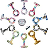Lancardo Reloj Médico de Enfermera Doctor Prendedor de Broche Conjunto de Reloj de Bolsillo de Silicona de Multicolores Movimiento Cuarzo Original con Clip Colgante en Uniforme Paramédico – 10PCS