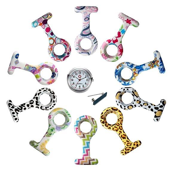 Lancardo Reloj Médico de Enfermera Doctor Prendedor de Broche Conjunto de Reloj de Bolsillo de Silicona de Multicolores Movimiento Cuarzo Original con Clip ...