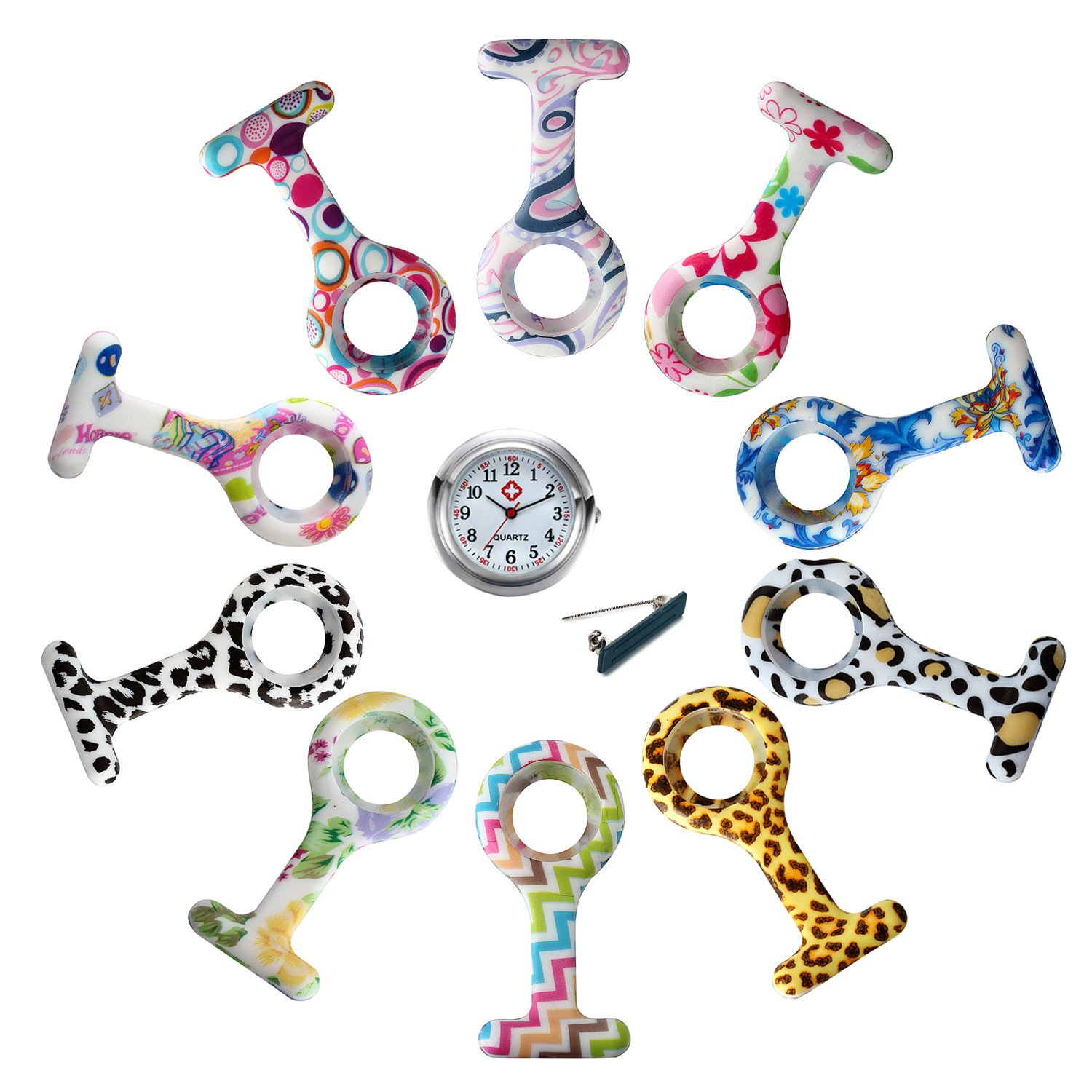 Silicon Nurse Fob Brooch Lapel Hanging Pocket Watch With 10 Replacement Covers