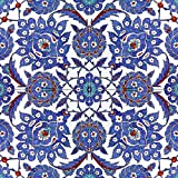 Turkish pattern 16th century design Tile Mural Kitchen Bathroom Wall Backsplash Behind Stove Range Sink Splashback 2x2 12'' Ceramic, Glossy