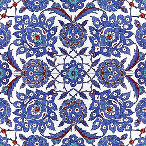 Turkish pattern 16th century design Tile Mural Kitchen Bathroom Wall Backsplash Behind Stove Range Sink Splashback 2x2 12'' Ceramic, Glossy by FlekmanArt