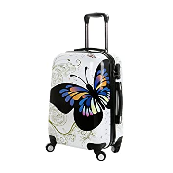 20 In White Butterfly Upright Spinner Travel Luggage Suitcase 4 Wheel Cabin  Trolley Set