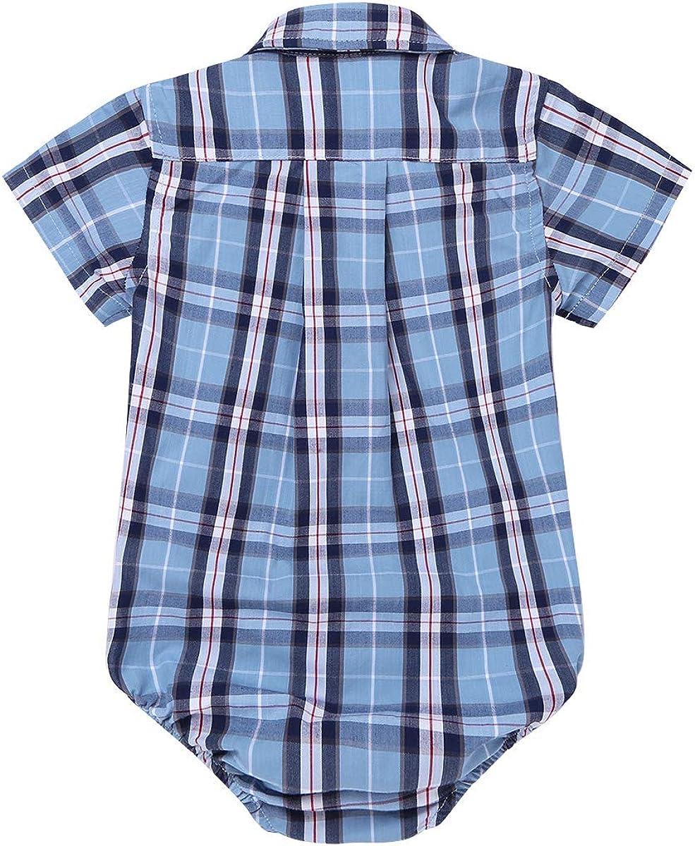 TiaoBug Unisex Baby Kurzarm-Body Jungen M/ädchen Strampler kariert Hemd Kinder Trachtenhemdmit mit Kragen Kleinkind Overalls S/äugling Spielanzug 3 Monate-24 Monate