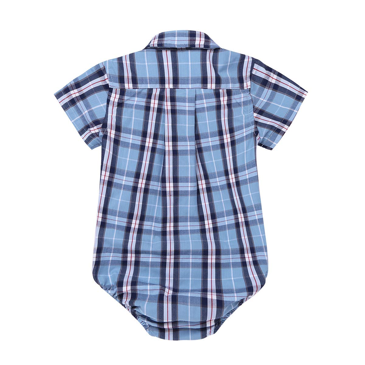 CHICTRY Infant Baby Boys Gentleman Style Romper Shirt Short Sleeve Plaid Jumpsuit Clothes