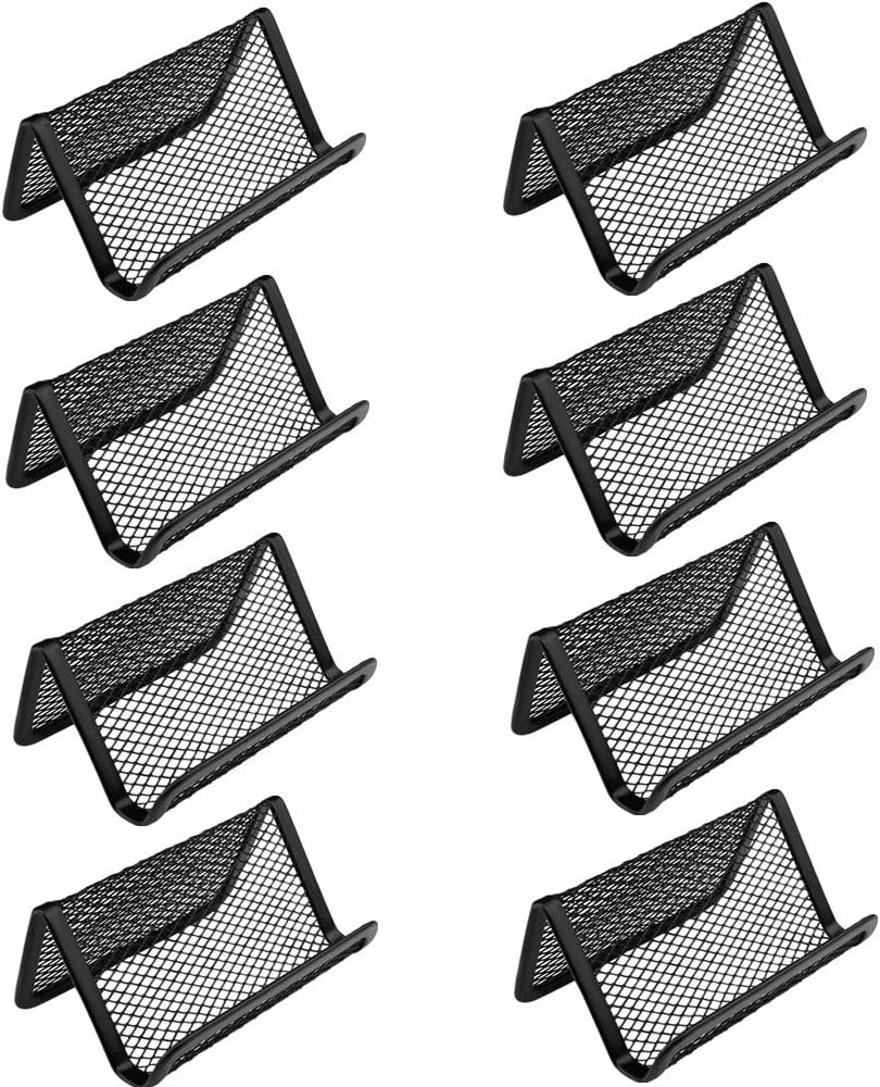 Xin store Metal Mesh Business Card Holder Organizer for Desk Office, Black (Pack of 8)