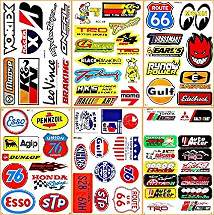 Cars Motor STP Esso Gulf 76 Oil NHRA Drag Racing Lot 6 Vinyl Graphic Decals Stickers