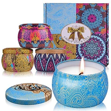 Duftkerze ARINO Aroma Kerzen Naturwach in Dose 4er Deco Kerzen Geschenk Set - Natürliches Aromen von Rose Zitrone Labendel Mi