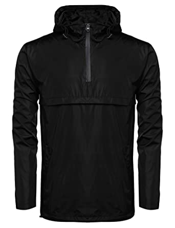 Coofandy Men's Casual Waterproof Rain Jacket Outdoor Hoodie ...