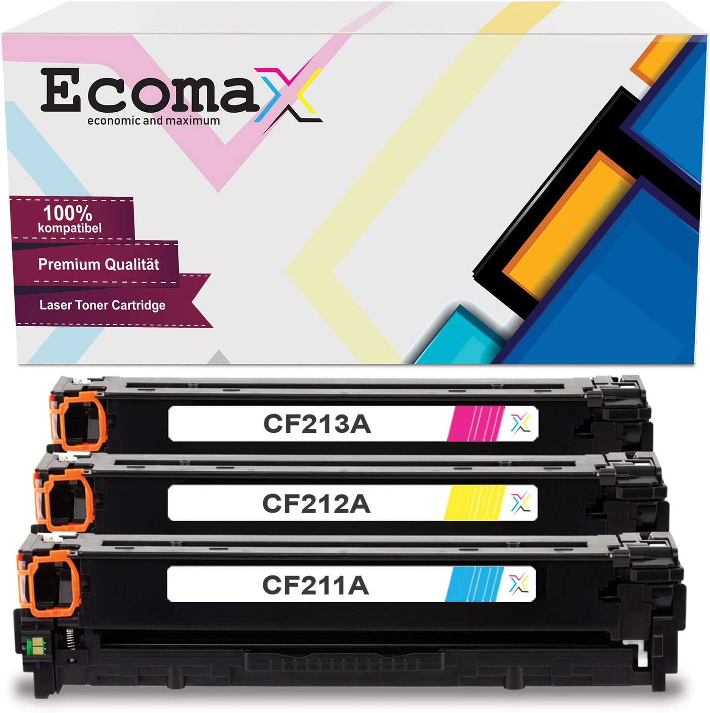 3 Ecomax Toner Kompatibel Zu Hp Cf211a Cf212a Cf213a 131a 131x Für Hp Laserjet Pro 200 Color Mfp M276n M276nw M251n M251nw Bürobedarf Schreibwaren