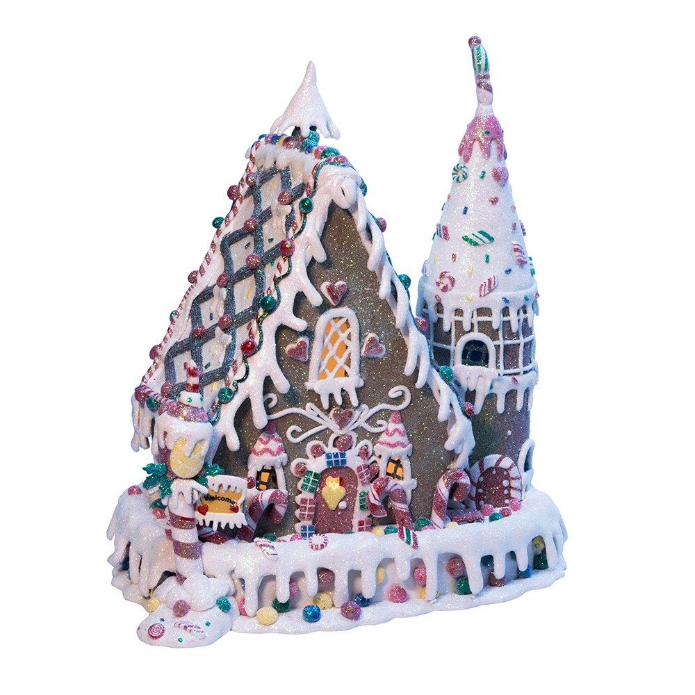 Kurt Adler Clay-Dough Gingerbread Inn with C7 Bulb, 13-Inch