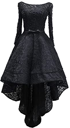 0f28e22651 Rongstore Women's High Low Lace Prom Party Dresses with Long Sleeve Black  US0