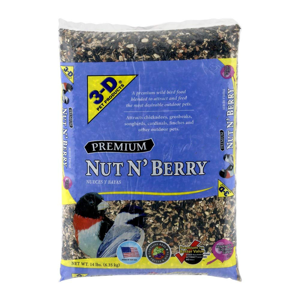 PACK OF 2 - 3-D Pet Products Premium Nut N' Berry Dry Wild Bird Food, 14 LB by Pet D