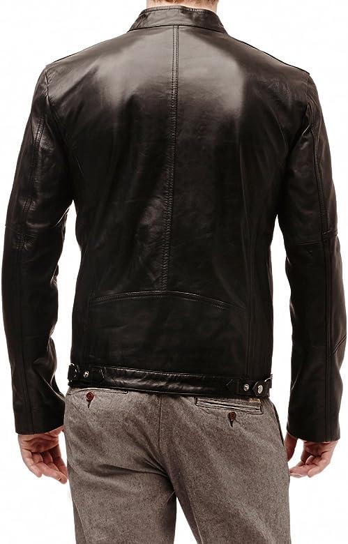 Mens Genuine Lambskin Leather Jacket Slim Fit Biker Motorcycle Jacket X191