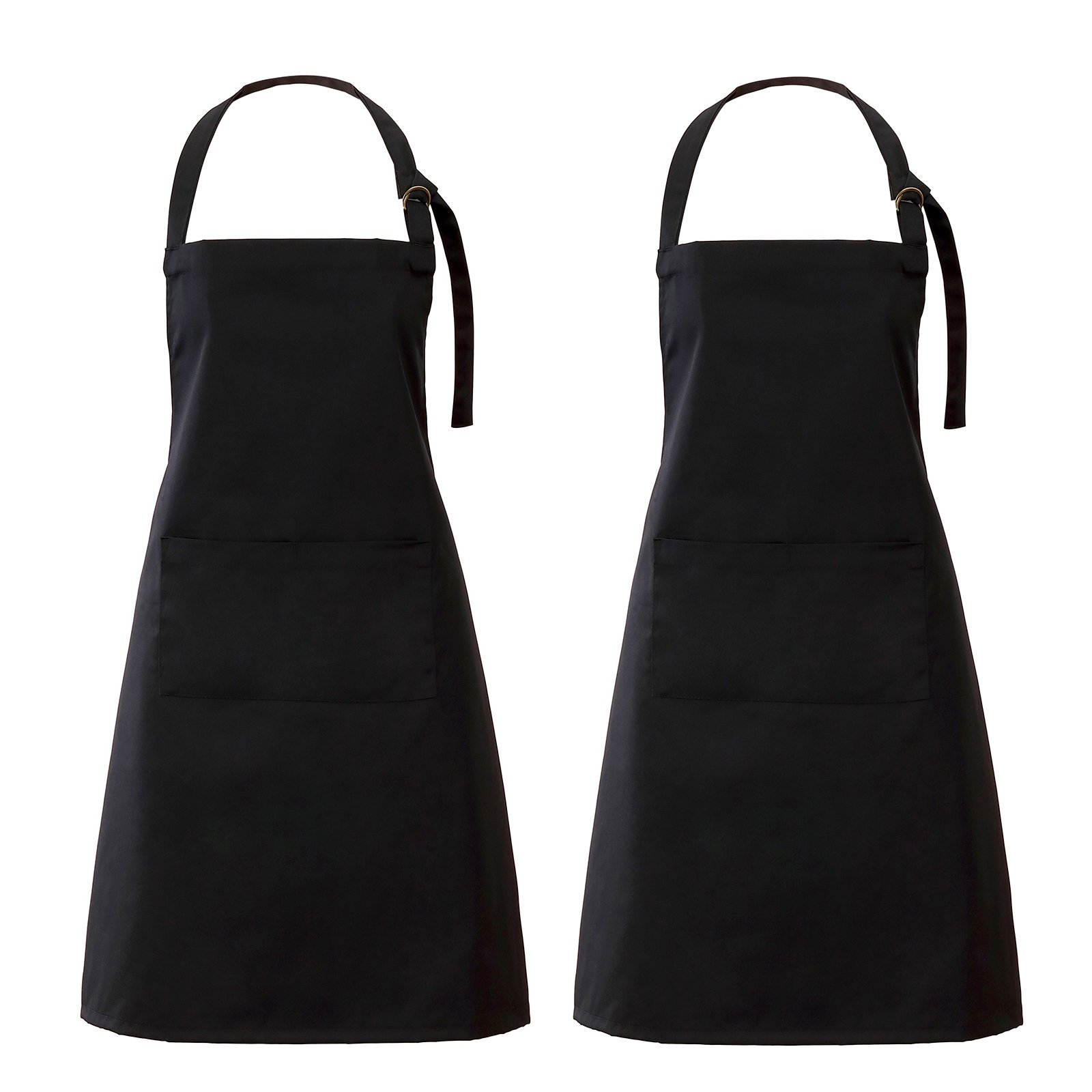 VEEYOO Adjustable Chef Bib Apron with 2 Pockets, Set of 2, Durable Spun Poly Cotton, Cooking Kitchen Restaurant Uniform Aprons for Men Women, 32x28 inches, Black