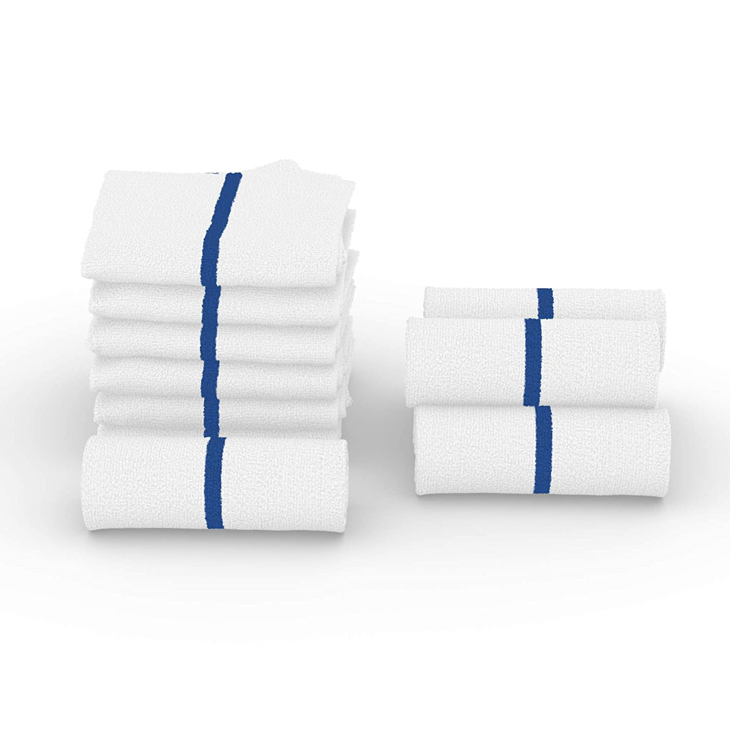 Quick Dry for Gym Kitchen Automotive Use Tidying Cloths 16x19, Blue Stripe 12 or 24 Pack JMR Cleaning Bar Mops