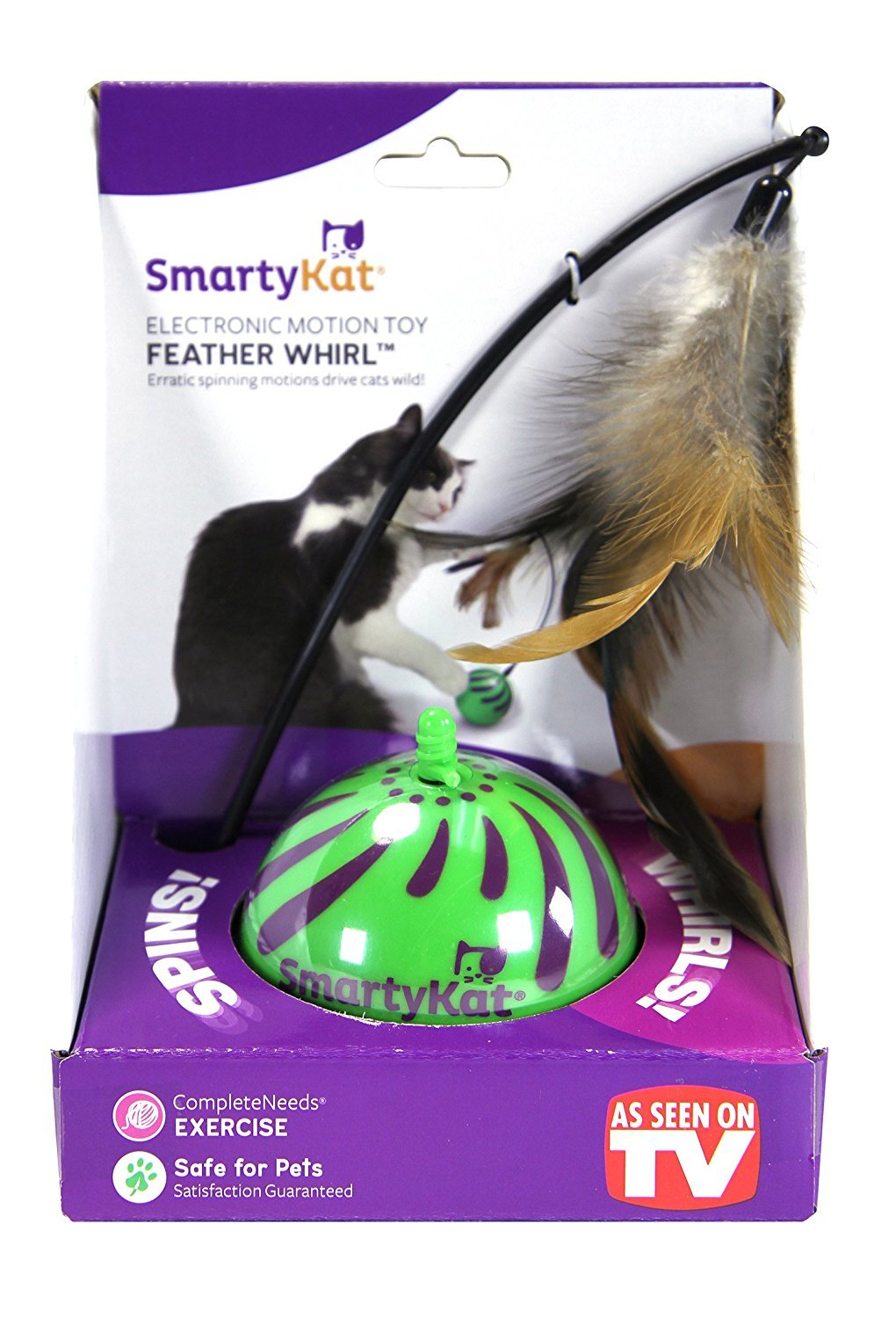 SmartyKat Feather Whirl Electronic Motion Cat Toy, As Seen On TV 2-Pack