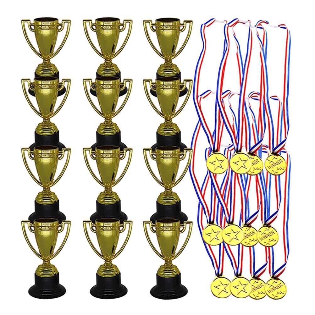 12/* Especies Populares + 12/* medallas STOBOK 24/pcs Juguetes para ni/ños Mini pl/ástico Mini Copas de Oro y medallas para Fiestas Suministros para ni/ños Early Learning Toys