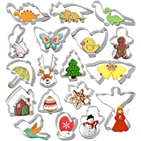 Cookie Cutter Set - Gyvazla 18 Piece Stainless Steel Snowflake, Christmas Tree, Gingerbread Boy, Snowman for Kids, Angel…