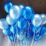 AnnoDeel 50 pcs 12inch Blue Balloons, Pearl Latex Light Blue Balloons and Blue Balloons for Boy Birthday Party Wedding Decorations Romantic Party