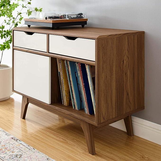 Honey Record Holder  Vinyl Storage  Hand Crafted TV Stand   Media Console Mid Century  Modern Vinyl Record Storage