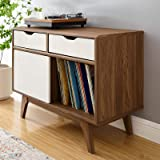 """Modway Envision Mid-Century Modern 37"""" Vinyl Record Display Stand With Drawers, 37 Inch, Walnut White"""