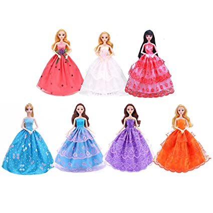 df92c1b27738b Amazon.com: 7 Pcs Doll Clothes Fashion Wedding Clothes Long Princess ...