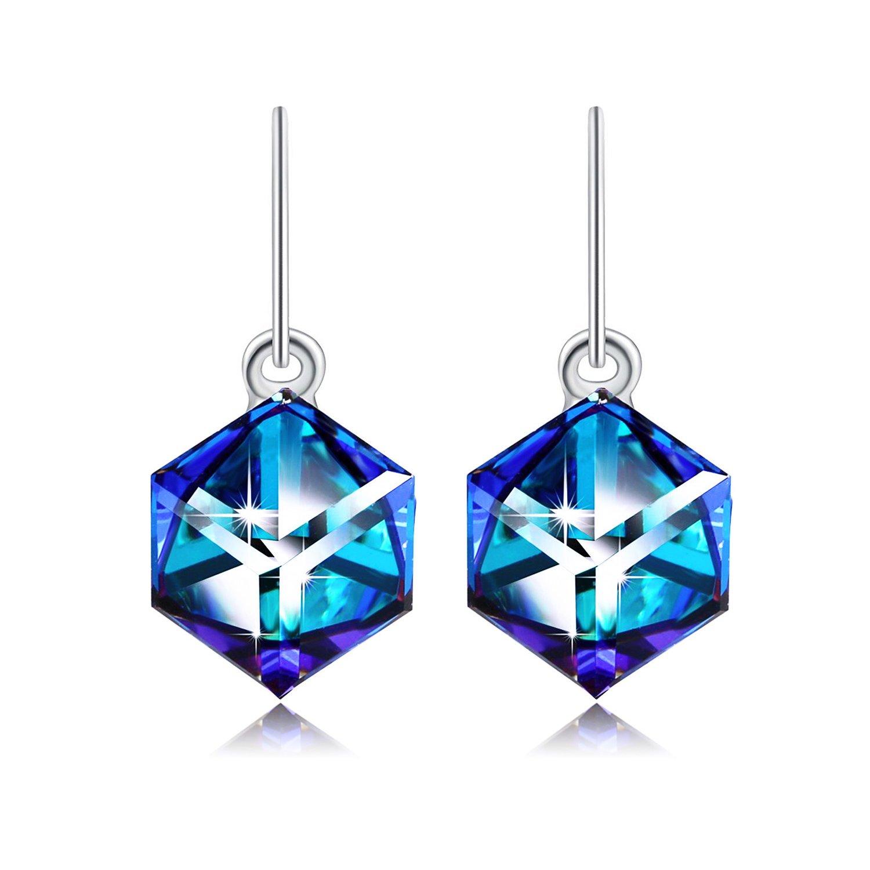 Swarovski Element Earrings Cube Earrings Color Changing Crystals Heart Of Ocean Blue Drop Dangle Earrings, Birthday Birthstone Jewelry Gifts for Women