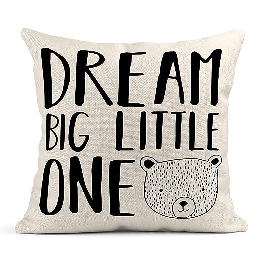 Kinhevao Cojín Rosa Baby Dream Big Little One Saying Bear ...