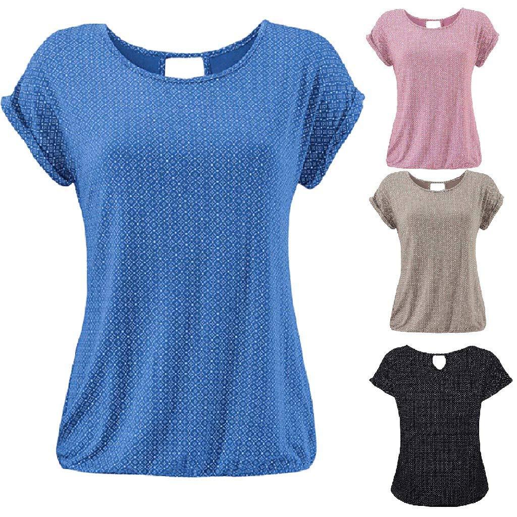 Damen T-Shirt Kurz /Ärmel Bluse Stretch L/ässig Tunika Allover Druck Oberteile Top