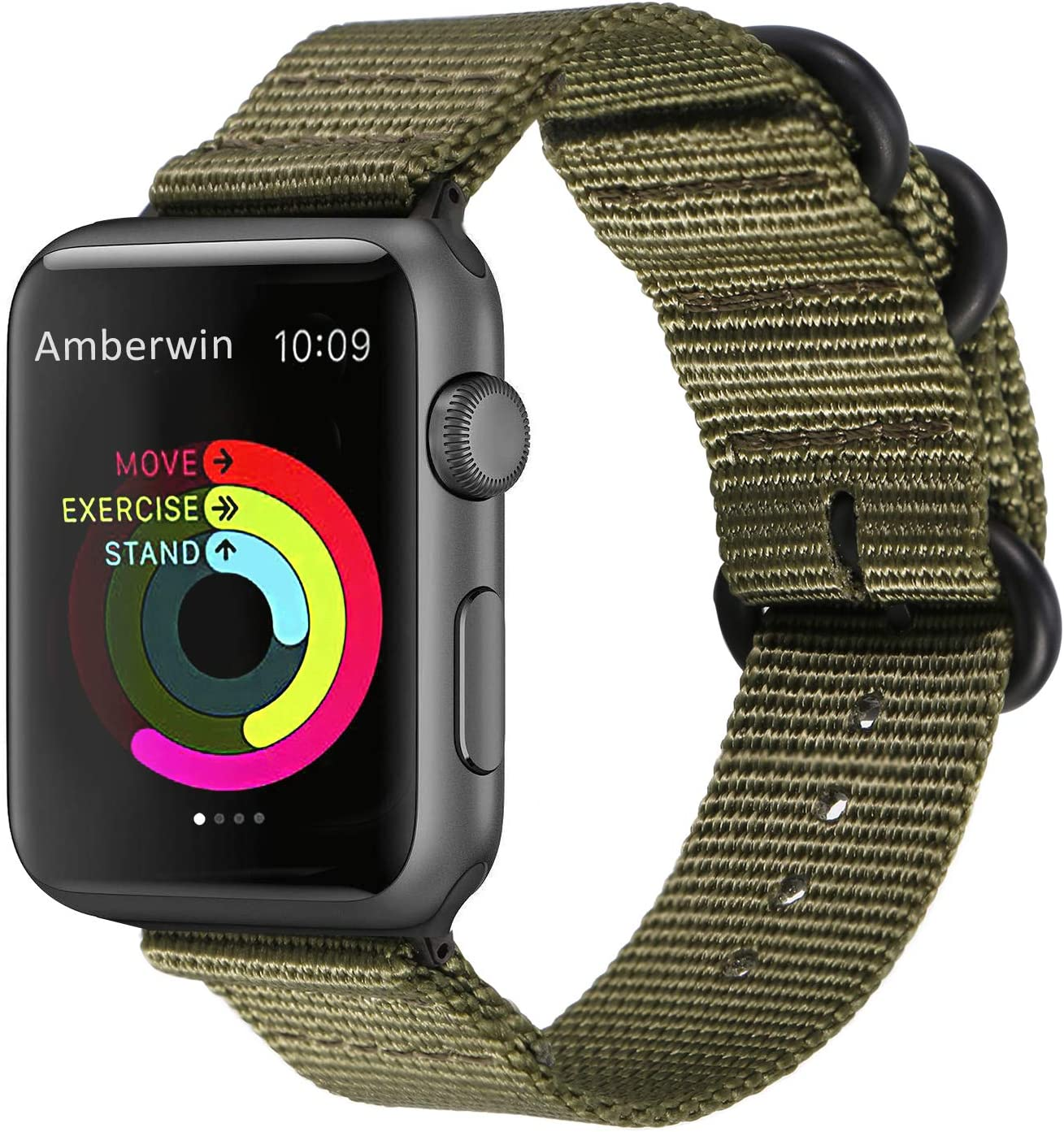 Amberwin Compatible for Apple Watch Band 44mm 42mm 40mm 38mm, Nylon NATO iWatch Band Replacement Strap for Apple Watch Series 5/4/3/2/1