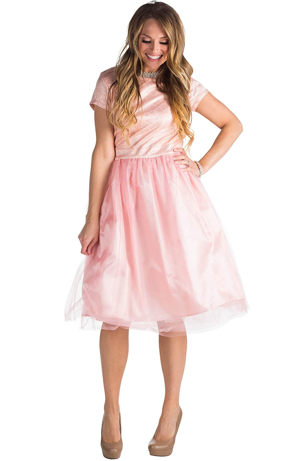 c53228f2bb11 Modest Tea-Length Dress w/Cap Sleeves Modest Semi-Formal Dress - Fitted  Lace Bodice with Ballet/Tutu Style Skirt. Perfect as a Modest Homecoming  Dress, ...