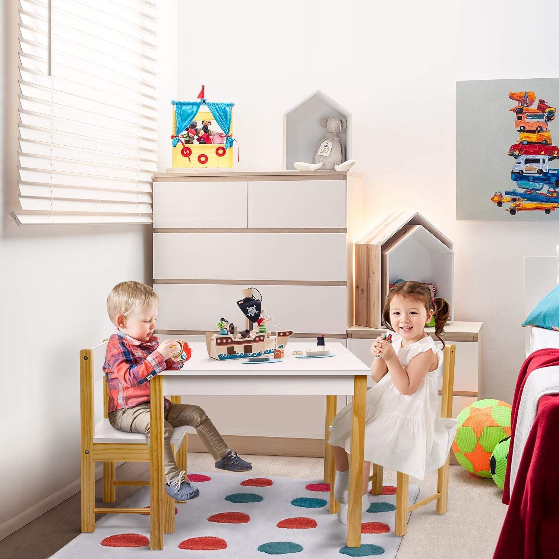 amzdeal Juego de Mesa y 20 Sillas Infantiles, Muebles de Madera y MDF para  Niños, Muebles Infantiles, Altura Óptima, Multiusos, Fácil Montaje, Blanco