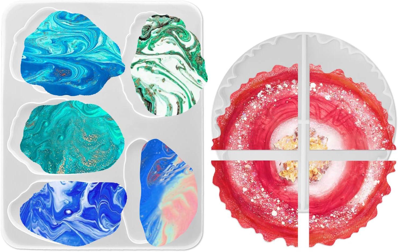 Heimdekoration Outivity Untersetzer Epoxidharz Formen Sch/üsselmatte 4PCS Achat Coaster Silikonharzformen Epoxidharz Resin Form zur Herstellung von k/ünstlichen Achat Scheiben,Untersetzern