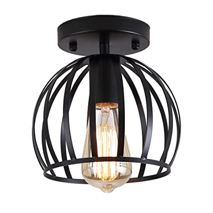 brand new d0c0b 07b22 Industrial Ceiling Light,Metal Retro Industrial Flush Mount Ceiling Pendant  Light Fixture for Hallway,Black …