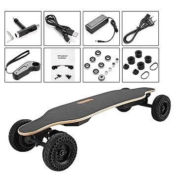 AIMADO Monopatín Eléctrico Longboard, 93cm E-Skateboard 1800W Doble Motores con Control Remoto Inalámbrico