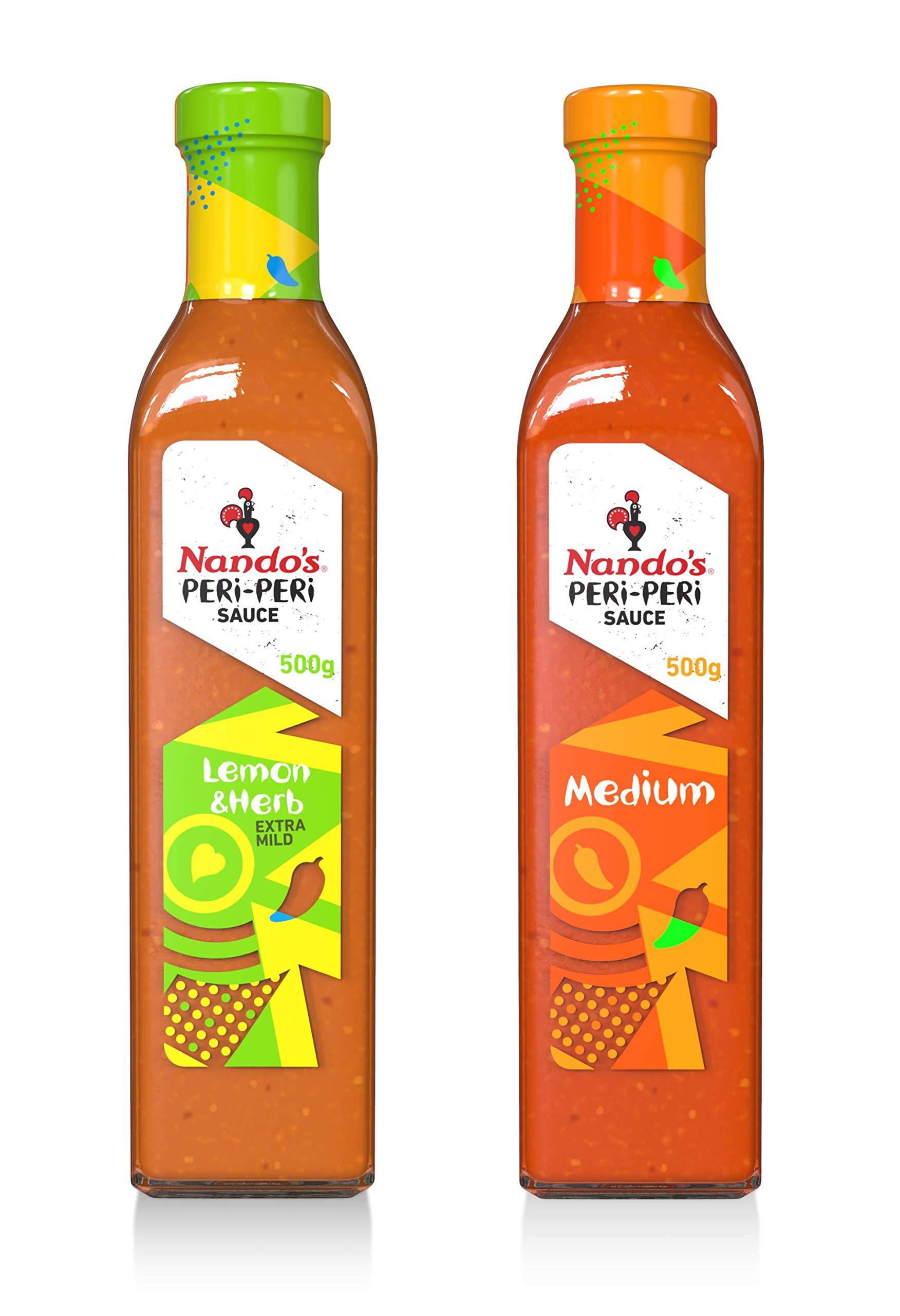 Nando's PERi-PERi Sauce Zesty Variety Pack - Medium Hot Sauce and Lemon & Herb Sauce | Gluten Free | Non-GMO - 17.6oz Bottle (2 Pack)