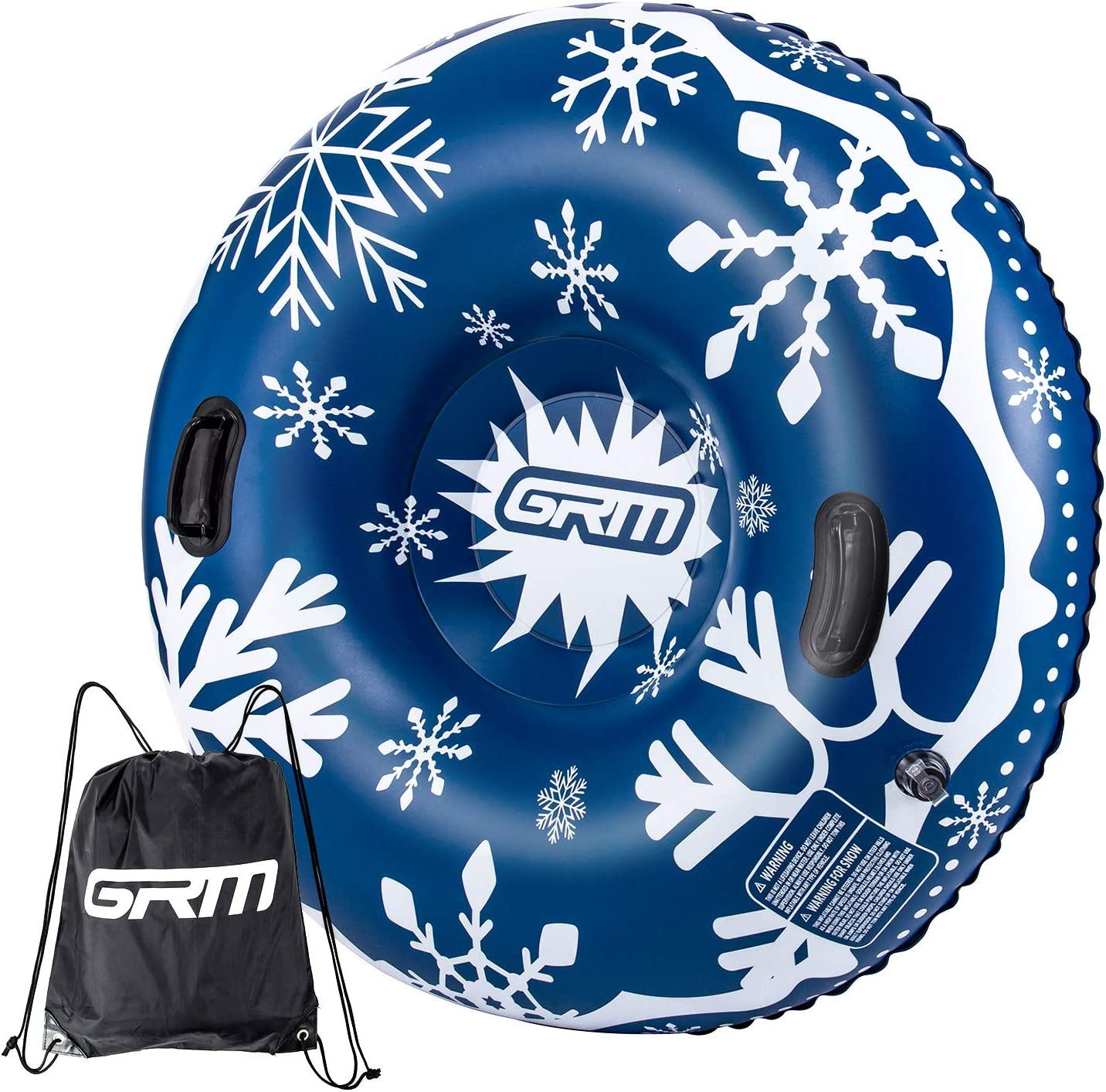 GRM Snow Tube, 47 Inch Sleds for Snow Heavy Duty Inflatable Sledding Tube for Kids and Adults Winter Snow, Blue/Black