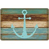 """Uphome Vintage Retro Nautical Anchor Flannel Microfiber Bathroom Shower Accent Rug - Turquoise and Brown Non-slip Soft Absorbent Bathroom Kitchen Floor Mat Carpet(16""""W x 24""""L)"""