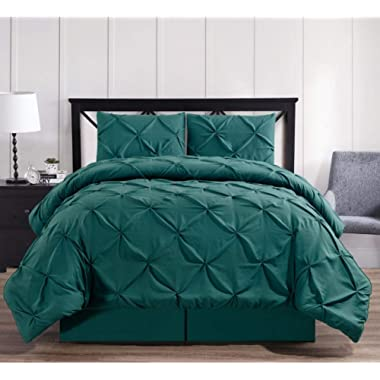 Royal Hotel Oxford Decorative Pinch Pleat Comforter Set, 8 Pieces Bed in a Bag, Hypoallergenic Comforter, Down Alternative Fill, King, Teal