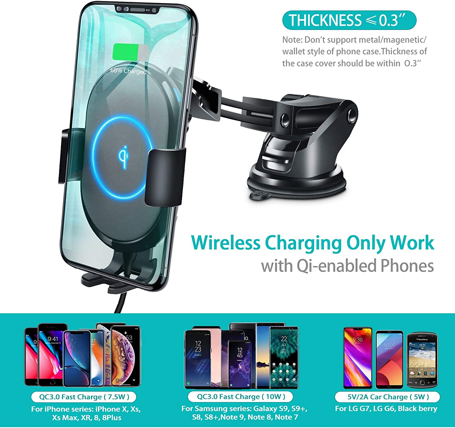 ABLGGRID Wireless Car Charger Mount Automatic Clamping 10W//7.5W Qi Fast Charging 5W Car Mount Holder Dashboard Compatible with iPhone Xs//Xs Max//XR//X//8//8 Plus,Galaxy S10//S10+//S9//S9+//S8//S8+//Note 9//Note