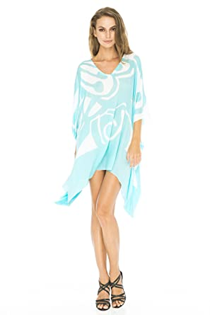 3adbc63dfafe1 Back From Bali Womens Loose Beach Dress Cover up Short Poncho Butterfly Aqua